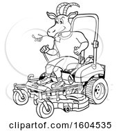 Cartoon Black And White Goat On A Zero Turn Lawn Mower