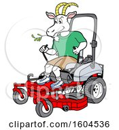 Cartoon Goat On A Zero Turn Lawn Mower