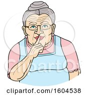 Clipart Of A Cartoon Granny Shushing By Holding A Finger Over Her Mouth Royalty Free Vector Illustration