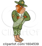Poster, Art Print Of Cartoon First Rank Black Male Army Sergeant With Folded Arms Looking Stern