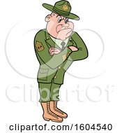 Clipart of a Cartoon First Rank White Male Army Sergeant with Folded Arms, Looking Stern - Royalty Free Vector Illustration by LaffToon #COLLC1604540-0065