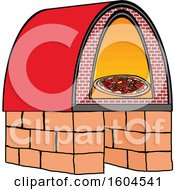 Clipart Of A Cartoon Brick Oven Pizza Royalty Free Vector Illustration