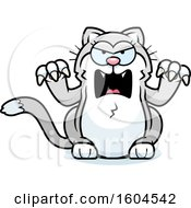 Clipart Of A Cartoon Angry Kitty Cat Royalty Free Vector Illustration