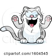 Clipart Of A Cartoon Crazy Kitty Cat Royalty Free Vector Illustration
