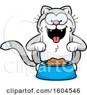 Clipart Of A Cartoon Kitty Cat With A Bowl Of Food Royalty Free Vector Illustration