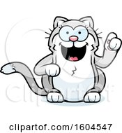 Clipart Of A Cartoon Kitty Cat With An Idea Royalty Free Vector Illustration