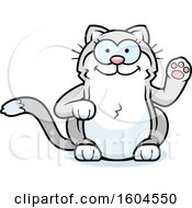 Clipart Of A Cartoon Kitty Cat Waving Royalty Free Vector Illustration