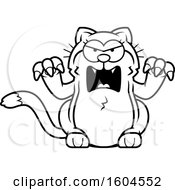 Cartoon Black And White Angry Kitty Cat