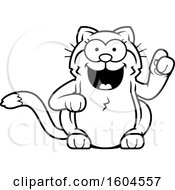 Cartoon Black And White Kitty Cat With An Idea