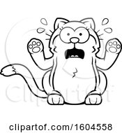 Cartoon Black And White Scared Kitty Cat