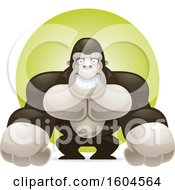 Clipart Of A Grinning Gorilla Over A Green Circle Royalty Free Vector Illustration