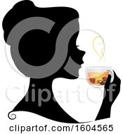 Clipart Of A Profiled Silhoutted Woman Drinking A Cup Of Mushroom Tea Or Broth Royalty Free Vector Illustration