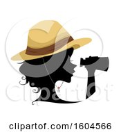 Clipart Of A Profiled Silhoutted Woman Explorer Using Binoculars Royalty Free Vector Illustration