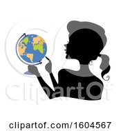 Clipart Of A Profiled Silhoutted Woman Holding A Globe And Pointing To A Location Royalty Free Vector Illustration