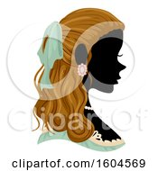 Clipart Of A Profiled Silhoutted Woman Wearing A Victorian Costume Royalty Free Vector Illustration