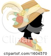 Clipart Of A Profiled Silhoutted Woman Wearing A Victorian Hat And Dress Royalty Free Vector Illustration