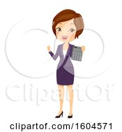 Brunette White Business Woman Holding A Calculator And Thumb Up