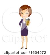 Poster, Art Print Of Brunette White Business Woman Holding Out A Cup Of To Go Coffee