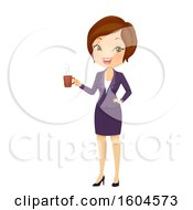 Brunette White Business Woman Holding A Cup Of Coffee