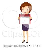 Clipart Of A Brunette White Business Woman Holding Out A Calendar Royalty Free Vector Illustration by BNP Design Studio
