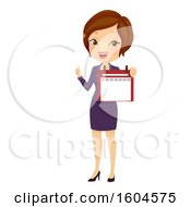 Clipart Of A Brunette White Business Woman Holding A Calendar And Thumb Up Royalty Free Vector Illustration by BNP Design Studio