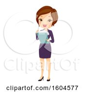 Clipart Of A Brunette White Business Woman Looking At Documents On A Clipboard Royalty Free Vector Illustration