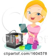 Clipart Of A Happy Blond White Woman Making 3d Printer Products Royalty Free Vector Illustration