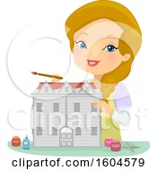 Happy Blond White Woman Painting A Doll House