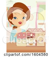 Brunette White Woman Showing A Furnished Doll House