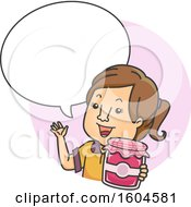 Clipart Of A Cartoon Brunette White Woman Selling Home Made Fruit Jam Royalty Free Vector Illustration