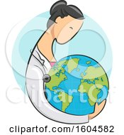 Clipart Of A Female Doctor Holding Planet Earth Royalty Free Vector Illustration