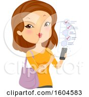 Clipart Of A White Woman Checking Off Items From A List On Her Cell Phone Royalty Free Vector Illustration by BNP Design Studio