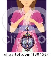 Clipart Of A Girl Holding A Beautiful Moroccan Lantern Royalty Free Vector Illustration by BNP Design Studio