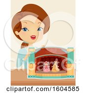 Clipart Of A Brunette White Woman With A Paper Theater And Dolls Royalty Free Vector Illustration