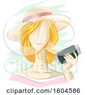 Clipart Of A Faceless Blond White Woman Holding Her Passport And Travel Tickets Royalty Free Vector Illustration by BNP Design Studio