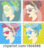 Clipart Of A Woman Wearing Sunglasses In Fifties Retro Pop Art Design Royalty Free Vector Illustration