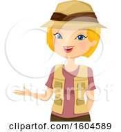 Clipart Of A Blond White Woman Safari Tour Guide Presenting Royalty Free Vector Illustration