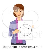 Clipart Of A Brunette White Female Teacher Holding A Smiley Template Royalty Free Vector Illustration by BNP Design Studio
