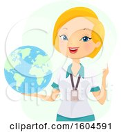 Poster, Art Print Of Blond White Female Teacher Holding A Globe
