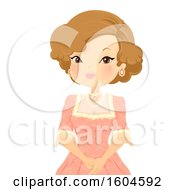 Clipart Of A Victorian Woman Wearing A Pretty Dress And Jewelry Royalty Free Vector Illustration