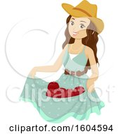 Clipart Of A Young Woman Holding Freshly Picked Apples In Her Dress Royalty Free Vector Illustration