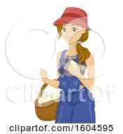 White Female Farmer Holding Freshly Collected Eggs