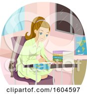 Poster, Art Print Of Happy Blond White Teen Girl Writing Over A Map