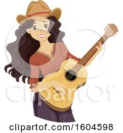 Clipart Of A Happy Teen Girl Playing A Guitar Royalty Free Vector Illustration by BNP Design Studio
