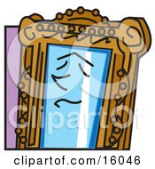 Face On A Magic Mirror Clipart Illustration