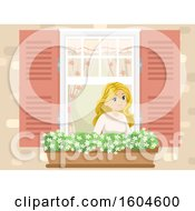 Happy Blond White Teen Girl In A Window With A Garden Basket