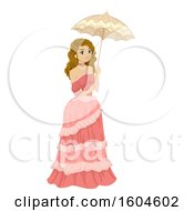 Clipart Of A Teenage Girl In A Victorian Dress Holding An Umbrella Royalty Free Vector Illustration