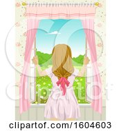 Clipart Of A Rear View Of A Teen Girl Opening A Window Royalty Free Vector Illustration