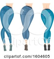 Clipart Of A Rear View Of Women Wearing Heels And Blue Jeans Royalty Free Vector Illustration