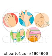 Clipart Of  Toddler Kid Skill Icons From Praying Waving Blowing Air Walking And Climbing Royalty Free Vector Illustration